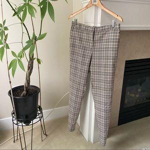 MASSIMO DUTTI High Rise Plaid Full Length Trousers